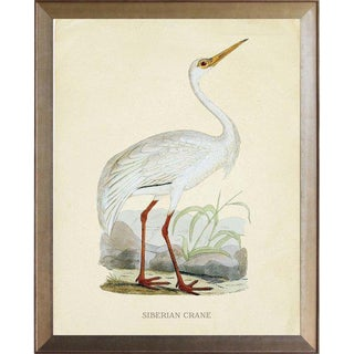 Siberian Crane in Distressed Metallic Frame 19x23 For Sale