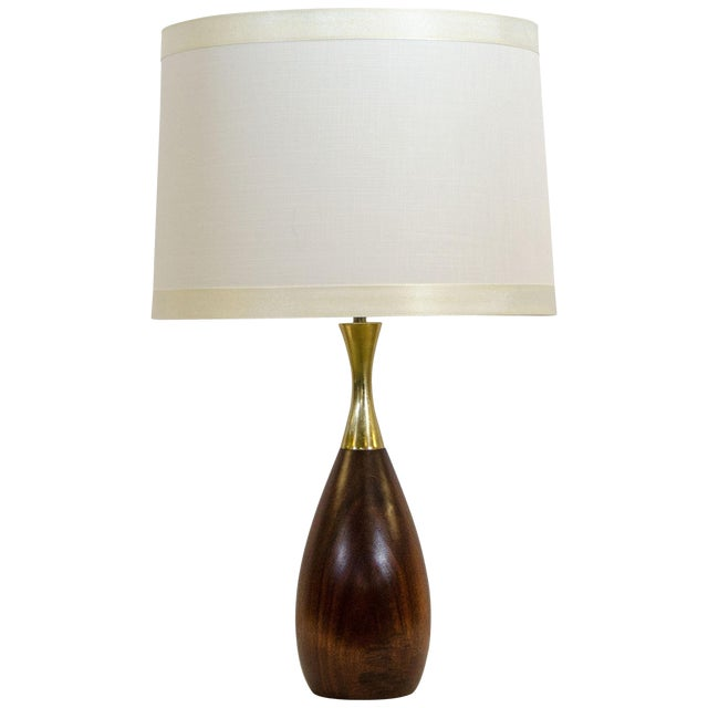 Walnut and Brass Table Lamp, Tony Paul For Sale