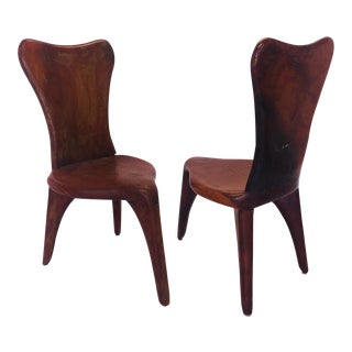 Pair Vintage Craftsman Made Carved Redwood Side Chairs For Sale