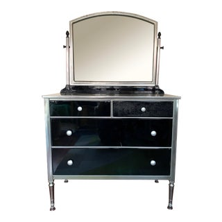 Vintage Simmons Steel Dresser With Mirror For Sale
