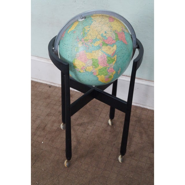 Store Item #: 8928 Jens Risom Hans Knoll Mid Century black wood frame globe on stand. Approx 50 years, America. High...