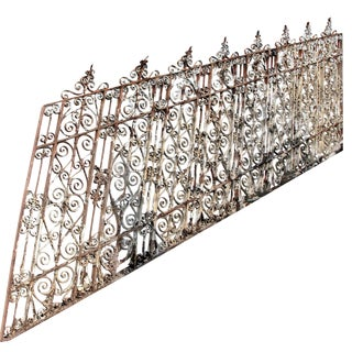 Rare Ornate 19th Century Wrought Iron Stair Railing - 2 Pieces