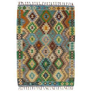 Afghan Kilim Handspun Wool Rug - 4′1″ × 5′9″ For Sale