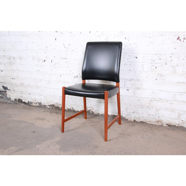 1950s Torbjorn Afdal Teak and Black Leather Dining Chairs, Set of Four For Sale - Image 5 of 11