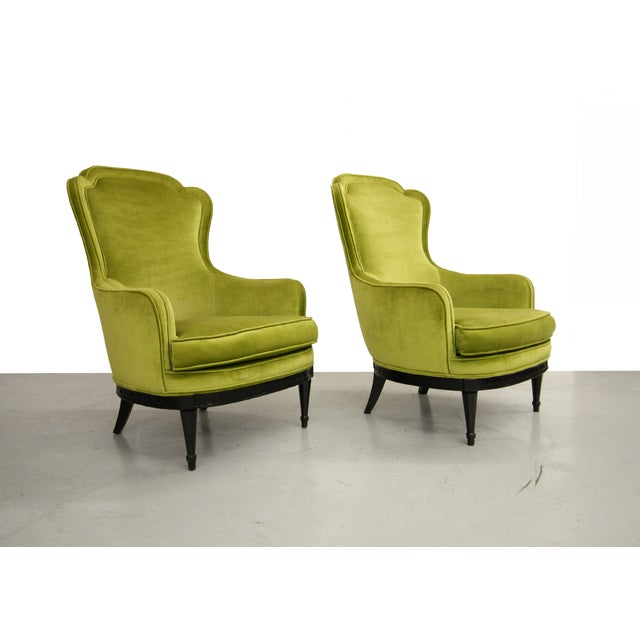 Mid Century Bergere Parlor Chairs - Pair - Image 3 of 7