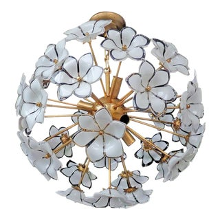 Organic Murano Glass Bouquet of Flower Chandelier For Sale