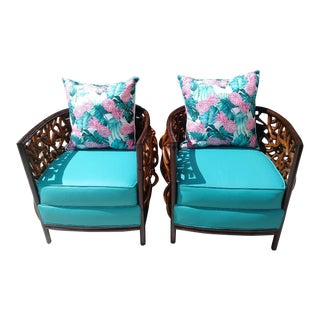 Palecek Barrel Back Graphic Bent Wood Modern Tropical Lounge Louga Side Chairs - a Pair