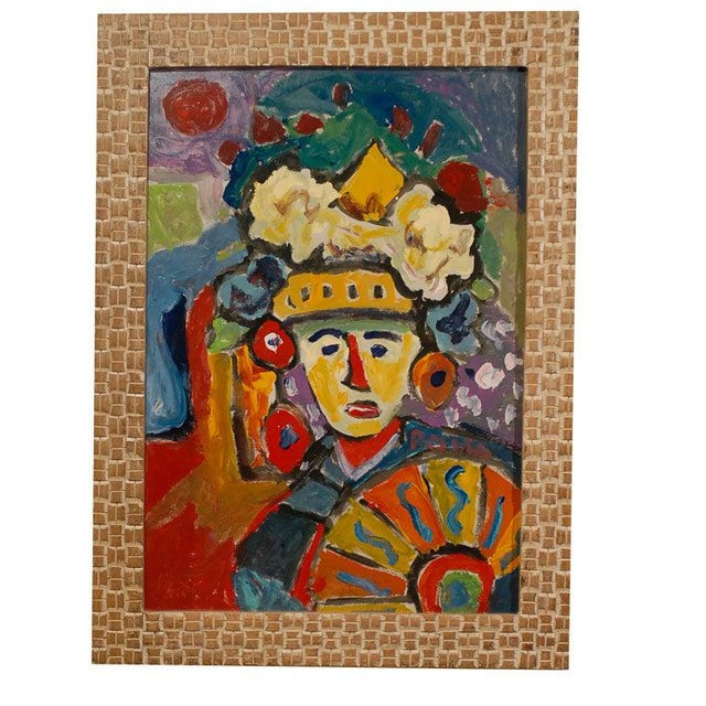Red Fauvist Oil on Board Abstract Painting by Hungarian Artist Miklos Nemeth For Sale - Image 8 of 8