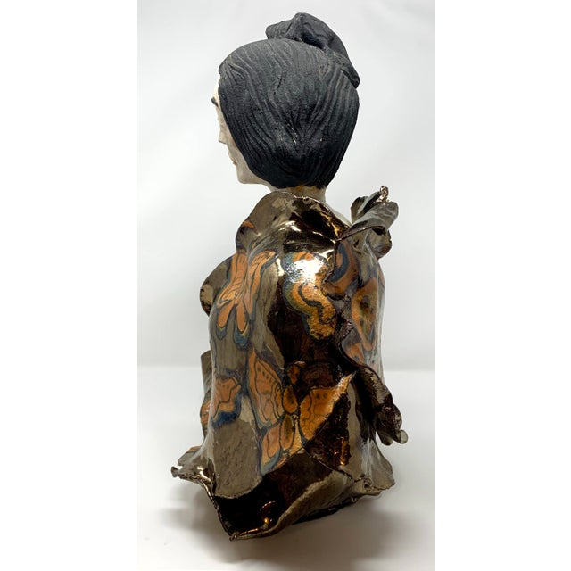 Ceramic Late 20th Century Theo Samuels Japanese Woman Sculpture For Sale - Image 7 of 13