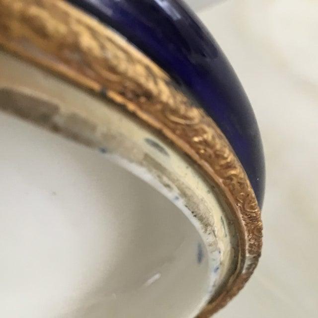 Antique Cobalt Blue French Porcelain Dresser Box For Sale - Image 9 of 12