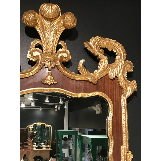 Gothic 1960s Gothic Gilded Plume Top Gold & Wood Mirror For Sale - Image 3 of 5