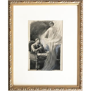 Antique C. 1880 Watercolor & Ink Painting Illustration Man Smoking Fantasying Nude Woman For Sale