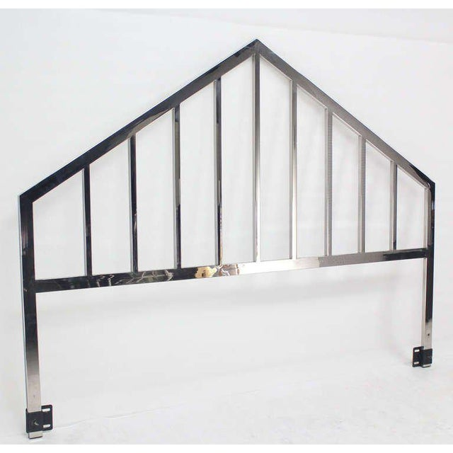 1970s Mid Century Modern Polished Chrome King Size Headboard For Sale - Image 5 of 10
