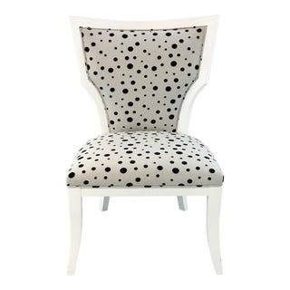 Currey & Co. Black and White Polka Dot Garbo Chair For Sale