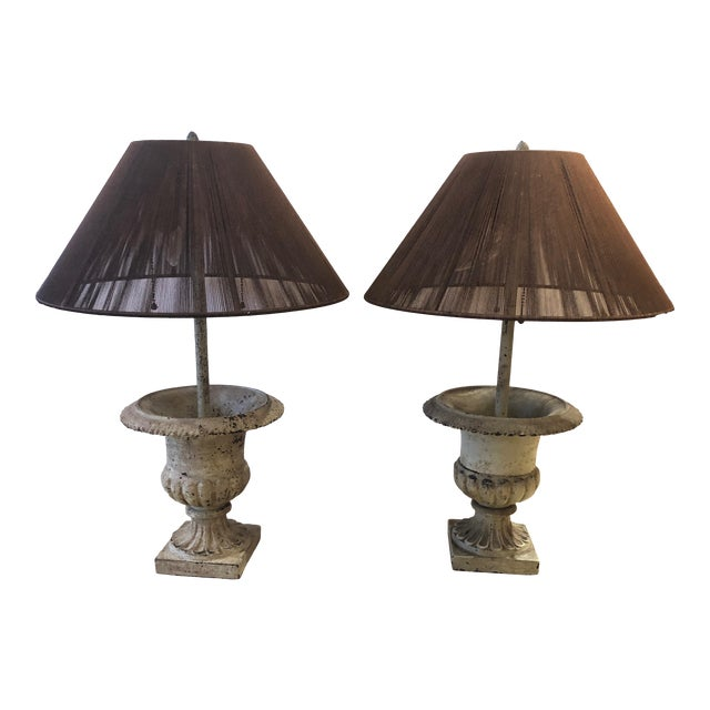 Iron Garden Urn Table Lamps - a Pair For Sale
