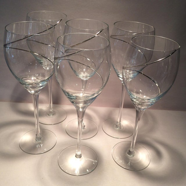 Transparent Vintage Silver Swirl Crystal Glasses - Set of 6 For Sale - Image 8 of 11