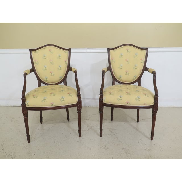 Set Of 8 Shield Back Style Upholstered Dining Room Chairs Age: Approx: 15 Years Old Details: Fine Carved Details High...