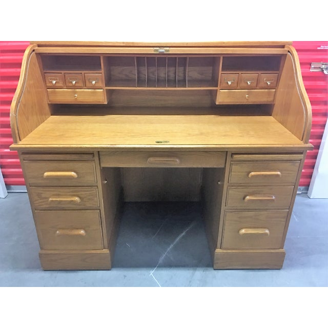 Solid Oak Roll-Top Desk With Keys - Image 10 of 10