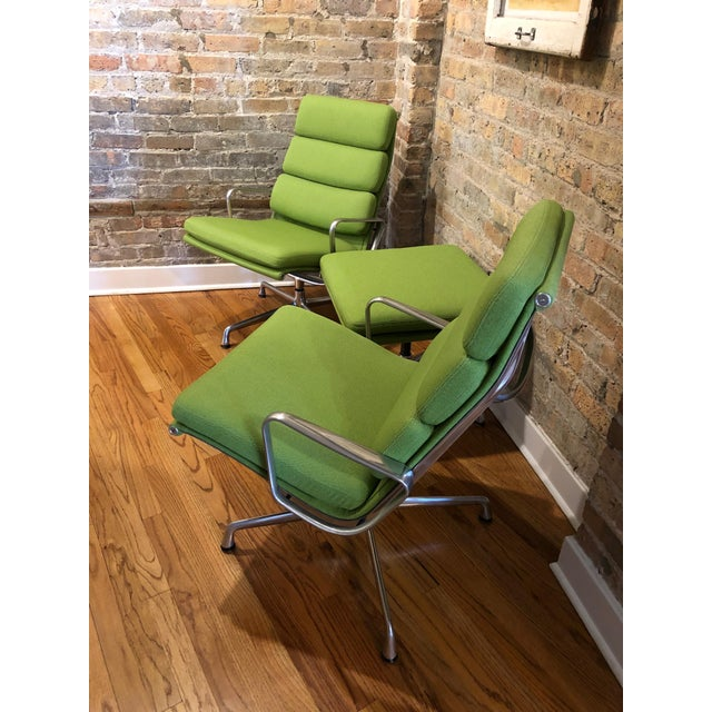 Mid-Century Modern Herman Miller Eames Neon Green Pad Lounge Chairs With Ottoman - a Pair For Sale - Image 3 of 8