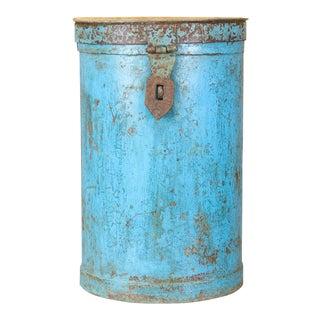 Neela Blue Wheat Grain Metal Jodhpuri Drum Container For Sale