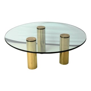 Mid-Century Modern Brass and Glass Tripod Cocktail Table by Pace Collection For Sale