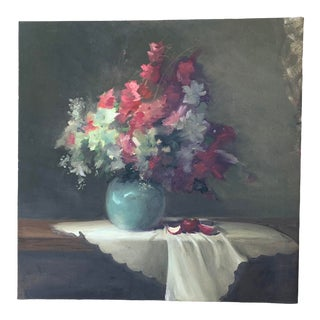 Late 20th Century Floral Still Life Oil Painting For Sale