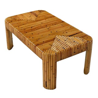 Vintage Rattan Bamboo Coffee Table For Sale