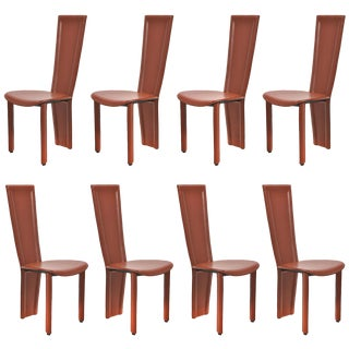 """1980s Modern Leather """"Marylin"""" Dining Chairs - Set of 8 For Sale"""