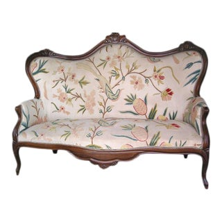 19th C. Italian Walnut Settee with Original Upholstery