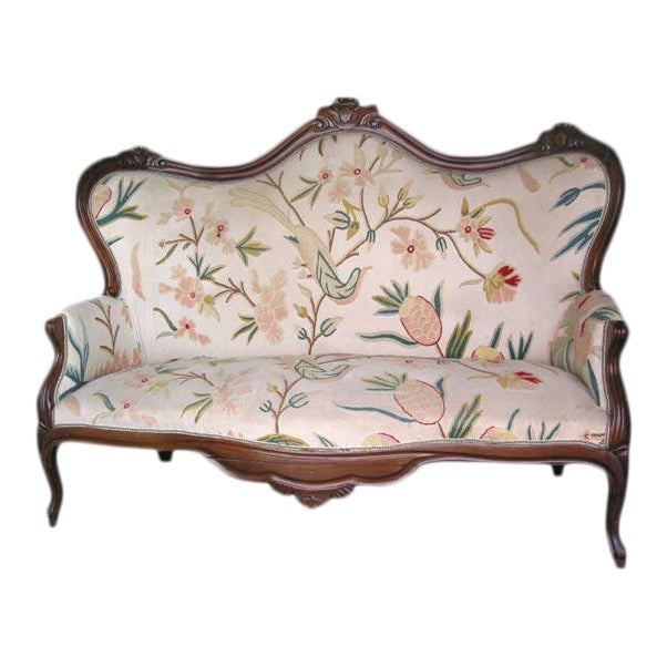 19th C. Italian Walnut Settee with Original Upholstery For Sale