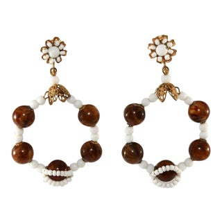 Miriam Haskell White Dangle Hoop Earrings With Brown Beads Vintage For Sale