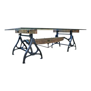 Industrial Cast Iron & Wood Brake Conference Table For Sale