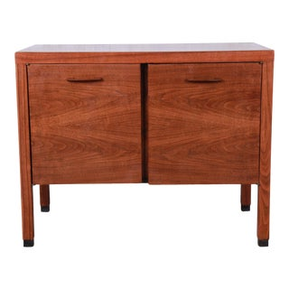 Directional Mid-Century Modern Walnut Small Credenza or Record Cabinet For Sale