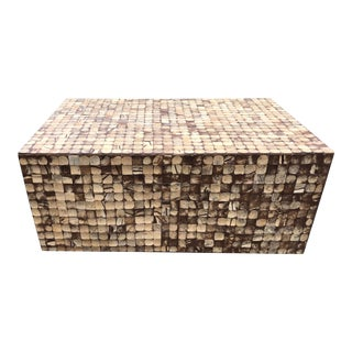 Coffee Table Faux Wood Mosaic Style For Sale