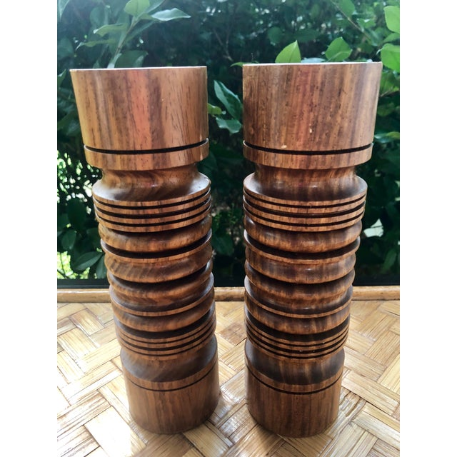 Mid-Century Modern Turned Wood Candlesticks- a Pair For Sale - Image 9 of 9