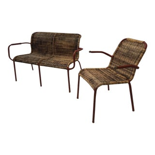 Pair of Jacques Adnet Early Stitched Leather and Wicker Set