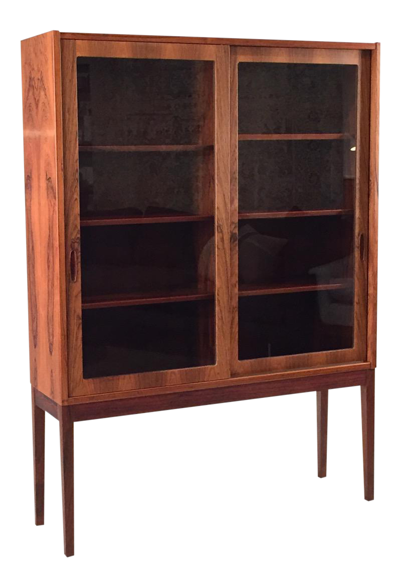 Vintage Danish Rosewood U0026 Glass Tall Cabinet