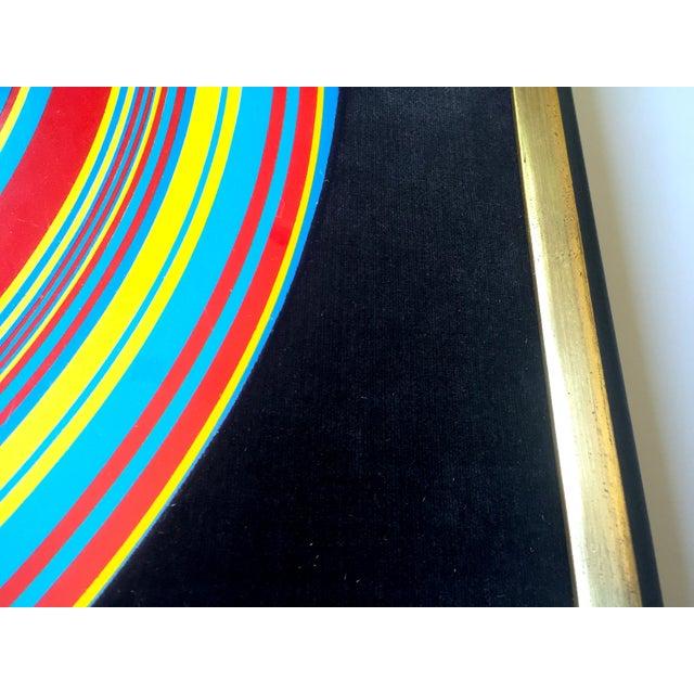 """ Tadasky "" Tadasuke Kuwayama Rare Vintage 1968 Mid Century Modern Framed Op Art Lithograph Print "" Whirling Circles "" For Sale - Image 10 of 13"