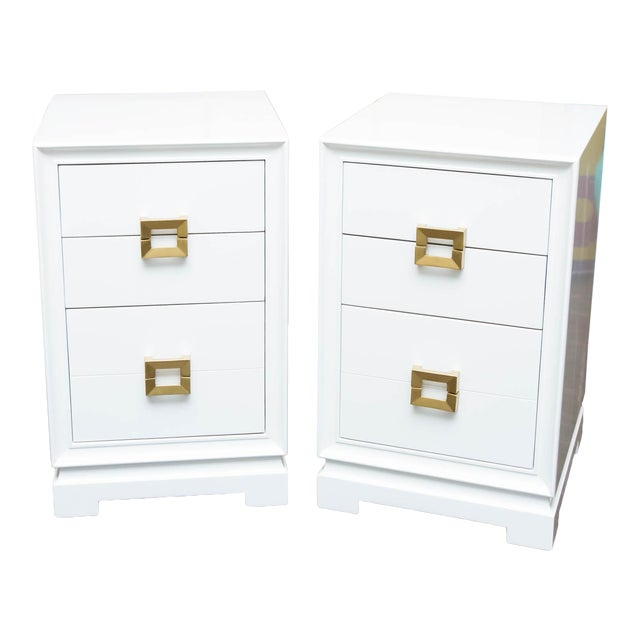 Mid-Century Lacquered Nightstands - A Pair - Image 1 of 10