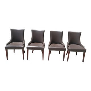 Safavieh Studded Brown Leather Dining Chairs - Set of 4 For Sale
