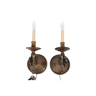 French Bronze Hand Wall Sconces, a Pair For Sale