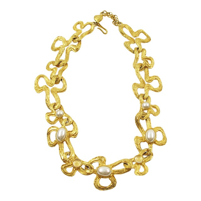 Lanvin Paris Choker Necklace Gilt Metal Pearl and Glass Cabochon For Sale