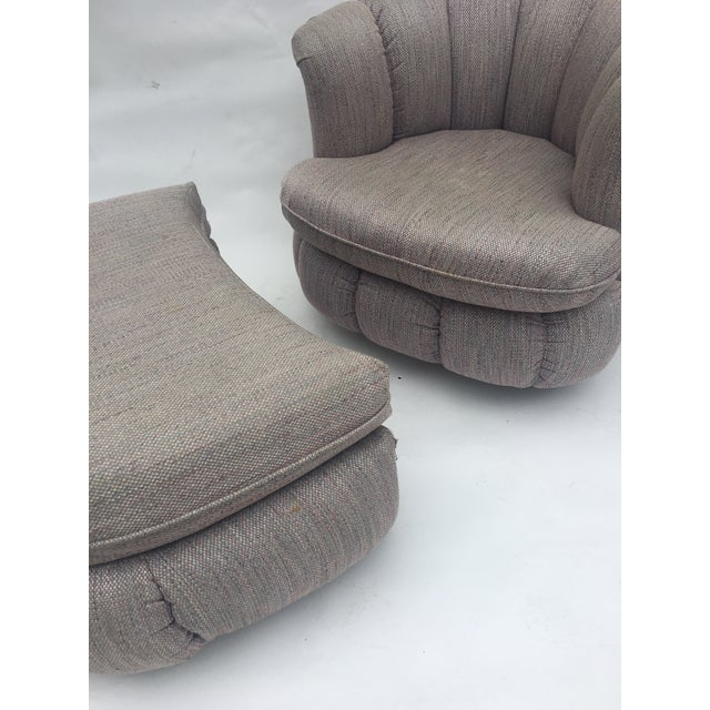 Textile 1980s Vintage Milo Baughman Style Shell Swivel Chair & Ottoman For Sale - Image 7 of 13