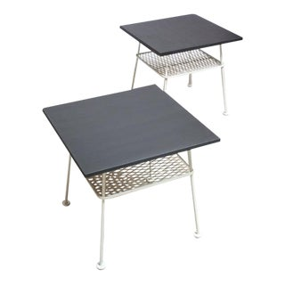 Pair of Slate and Iron Tables by Russell Woodard
