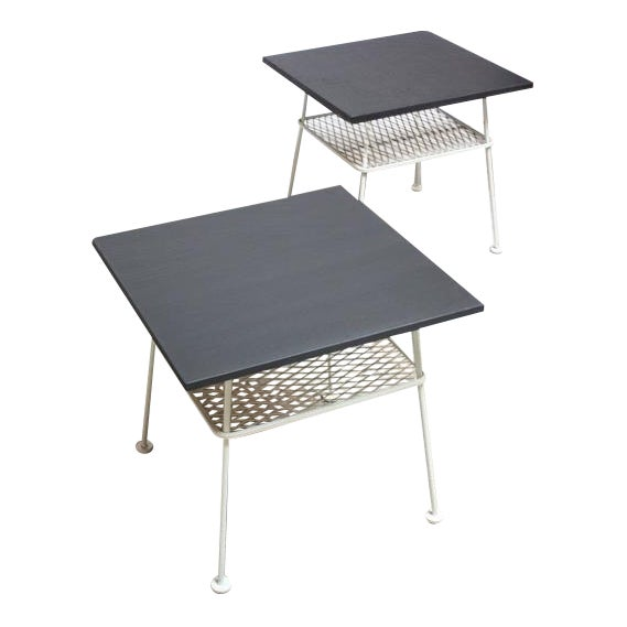 Pair of Slate and Iron Tables by Russell Woodard - Image 1 of 11