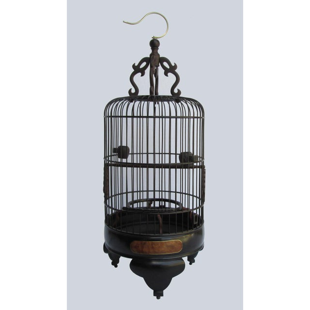 Asian Chinese Handmade Rosewood & Burgh Wood Gold Line Inlay Round Birdcage For Sale - Image 3 of 6