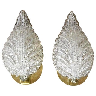 Barovier Murano Rugiadoso Leaf Wall Sconces - A Pair