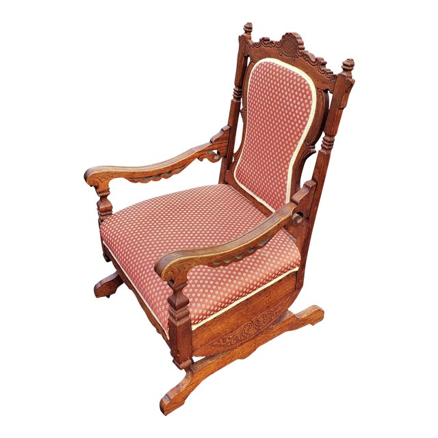 19th C Victorian American Upholstered Carved Oak Rocking Chair For Sale