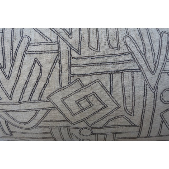 Linen Geometric Kuba Cloth Pillows - A Pair For Sale - Image 7 of 10