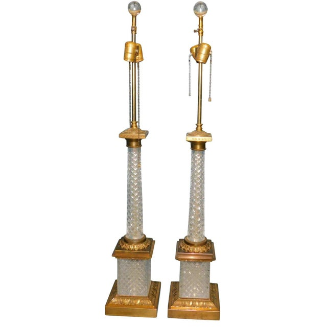Cut Crystal & Gilt Bronze Lamps - A Pair For Sale - Image 4 of 4